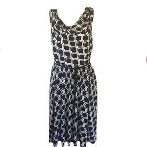 WHBM Black & white cowl neck dress